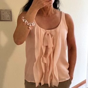 Loft Sleeveless Blouse Peach, size SP Office Party